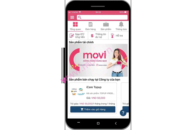Ứng tiền nhanh qua ứng dụng di động Movi